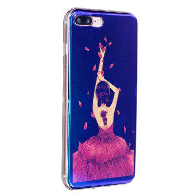 Caixa de telefone Blue Glitter Beauty Girl Pattern para iPhone 8 Plus