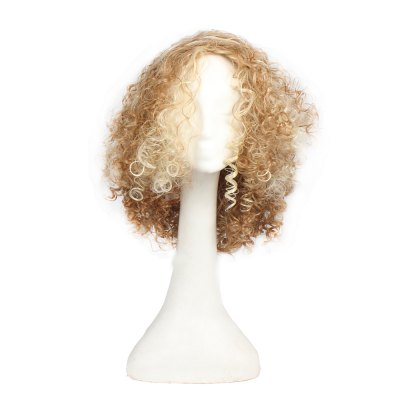 Popular Synthetic Long Afro Kinky Perucas Curly para Mulheres Blonde e Golden Color Hair 14inch, Halloween Party Costume