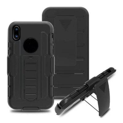 Case For iPhone X with Stand Back Cover Solid Color Armor Hard PC