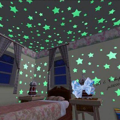 Gearbest 1Set Kids Bedroom Beautiful Fluorescent Glow In The Dark Stars Wall Stickers ( 100PCS )