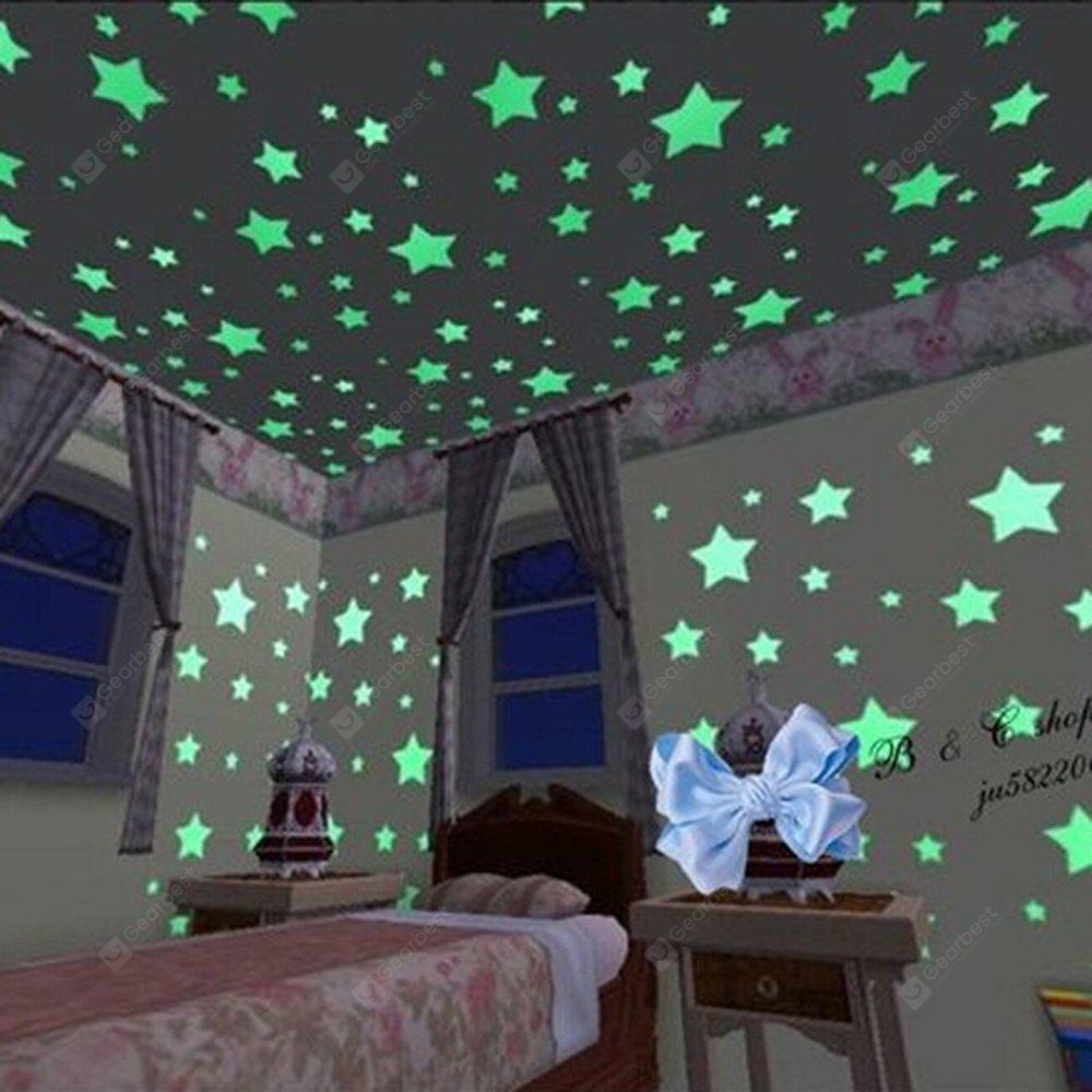 1Set Kids Bedroom Beautiful Fluorescent Glow In The Dark Stars Wall Stickers ( 100PCS )