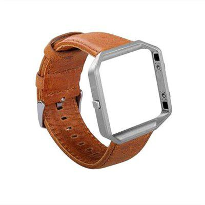 Genuine Leather Watch Band and Metal Frame Band for Fitbit Blaze Band