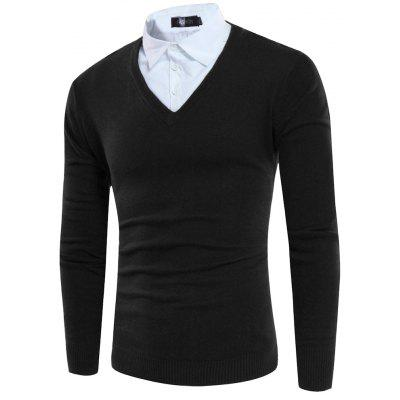 Fake Two Pieces Foreign Trade New Men's Sleeve Head Striped Sweater