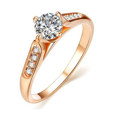 Classic  4 Claws 18k Rose Gold Plated 1ct Top Cz Diamond Stone Engagement Finger Rings for Women