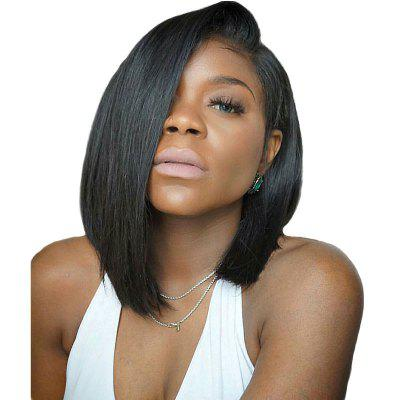 Short Deep Side Black Bobo Hair Lace Front Synthetic Wig