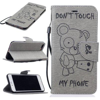 Little Bear Embossed Wallet Flip PU Leather Card Holder Standing Phone Case for iPhone 7 Plus / 8 Plus