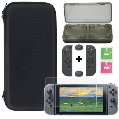 Black Portabable Travel Kit w/Pouch + Screen Protector for Nintendo Switch