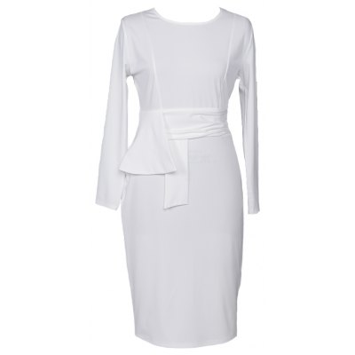 Spring Antumn New Style Womens Elegant Solid White O-Neck   Business  Stretch Bodycon  Dress