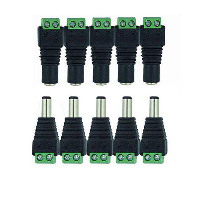 KWB Male and Female DC Power Connector Jack Adapter Plug for CCTV Camera and Strip Light 5PCS