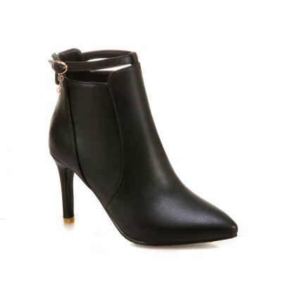 Stiletto Heels and Fashionable Buckle Buttons Short Boots
