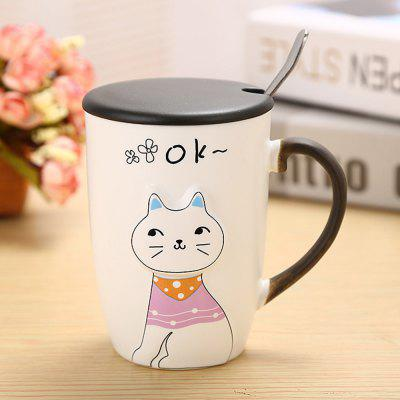 375ML Relief Animal Cat Ceramic Mug