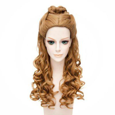 Women's Cosplay Long Golden Blonde Synthetic Hair Wavy Wig for Party