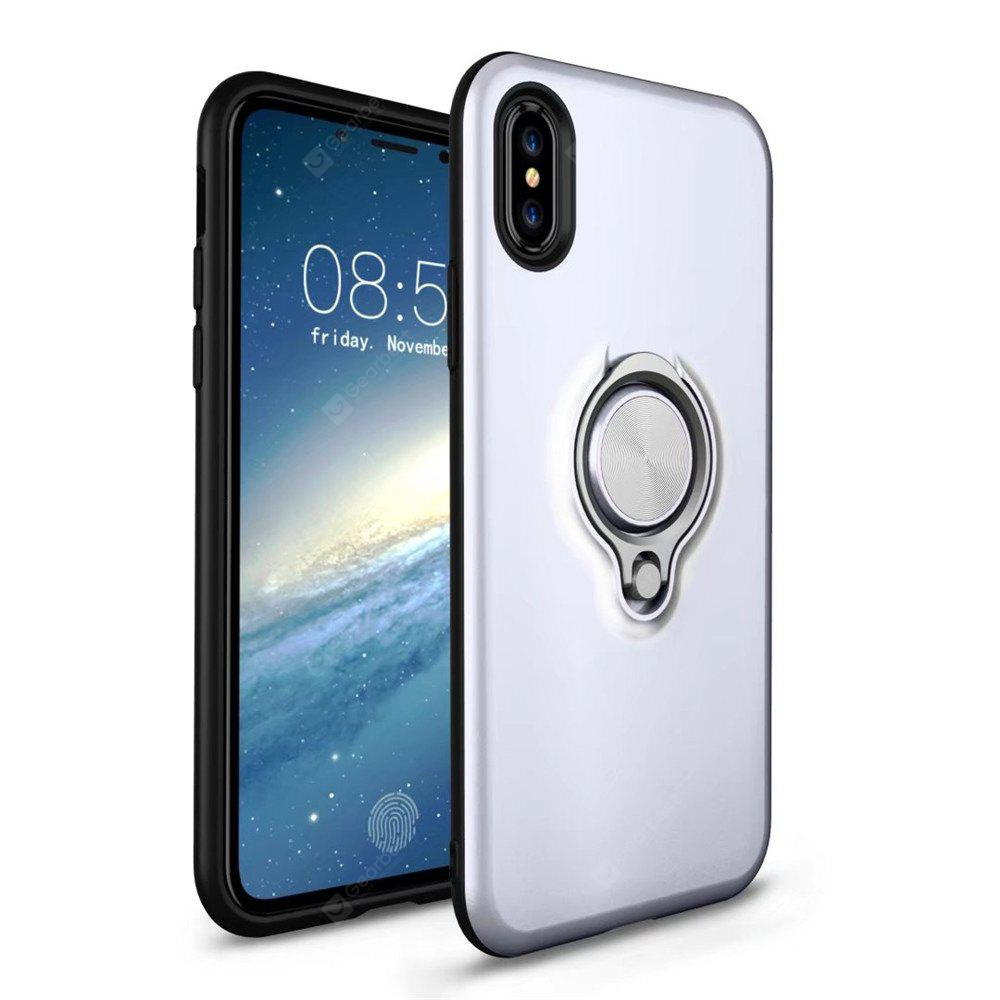 Stand Holder Phone Shockproof Armor TPU + Hard PC Cover  With Metal Finger Ring for iPhone X Case