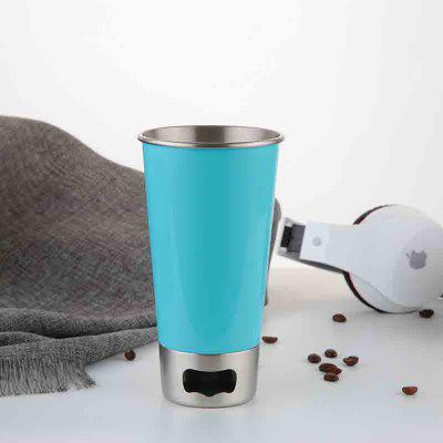Buy BLUE Stainless Steel Beer Mug with Bottle Opener for $11.52 in GearBest store