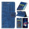 Vintage Crocodile Pattern PU Leather Wallet Case para iPhone 8 Plus - AZUL