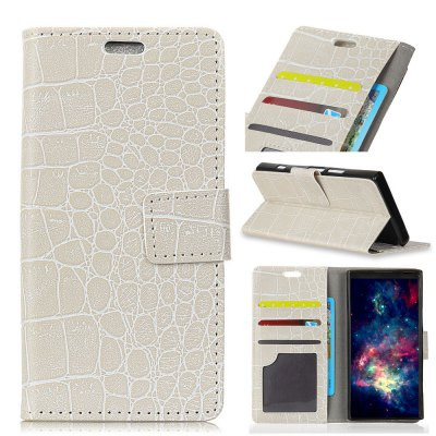Vintage Crocodile Pattern PU Leather Wallet Case for iPhone 7 Plus- WHITE