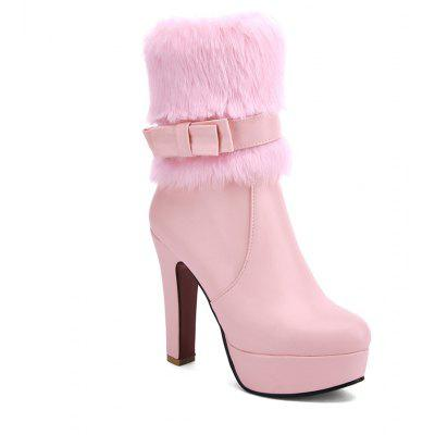 Women's Shoes Leatherette Winter Fashion Round Toe Mid-Calf Boots Bowknot