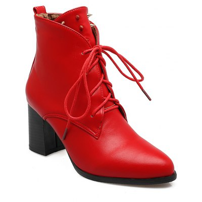 Women Shoes Booties Lace-up Chunky Heel Rivets Fashion Ankle Boots