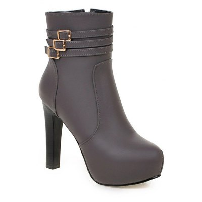 Women Shoes Booties Zip Chunky Heel Buckle Fashion Round Toe Ankle Boots