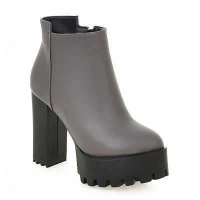 Women Shoes Chunky Heel Platform Zip Fashion Ankle Boots