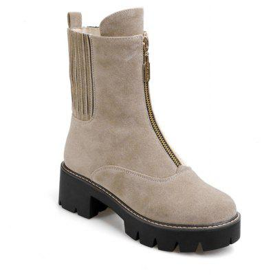 Women's Shoes Leatherette Winter Round Toe Zip Mid-Calf Boots