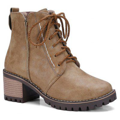 Women's Shoes Leatherette Winter Round Toe Booties Combat Boots