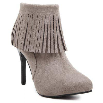 Women Shoes Tassel Pointed Toe Stiletto Heel Fashion Ankle Boots