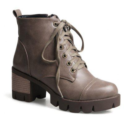 Round Head Waterproof Platform Thick Heel with Martin Boot