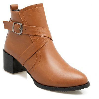 Round Head Thick Heels and Casual Belt Buckled Boots
