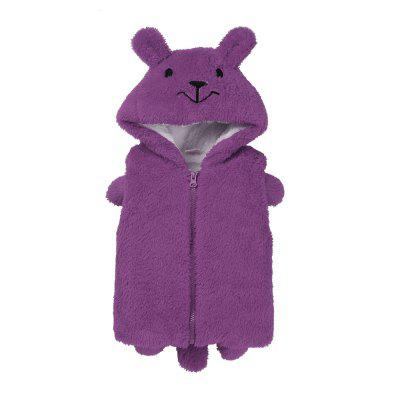 Kids Newborn Baby Winter Faux Fleece Cartoon Hooded Sleeveless Waistcoat