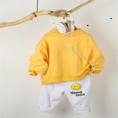 Autumn Korean Yellow Girls Children Kids Bat Sleeves Tops Pullover Hoodie