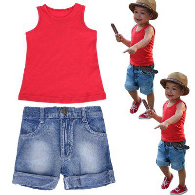 Toddler Kids Baby Boy Red Vest Denim Pants Trousers Outfits Clothes