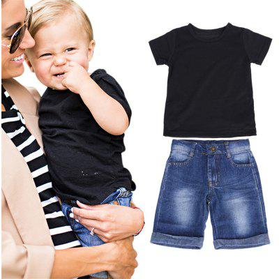 2pcs Toddler Kids Baby Boy T-shirt Tops Denim Pants Trousers Outfits