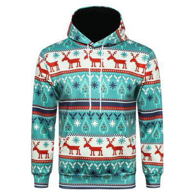 Cool Funny Moose with Christmas Ornaments Antlers Man Cotton Hoodie