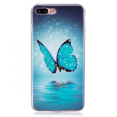 TPU Material Blue butterfly Pattern High Penetration Luminous Phone Case for iPhone 7plus /8plus