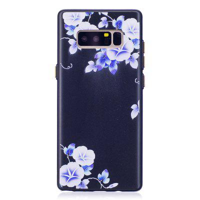 Embossed Blue Flower Pattern Phone Case for Samsung Galaxy Note 8