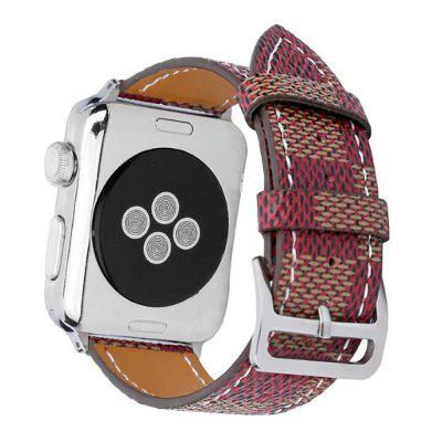 Tartan Pattern Genuine Leather Strap Replacement Band for 42mm iWatch Series 3 / 2 / 1