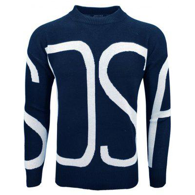 Autumn and Winter Men'S Fashion Casual Letters Pattern Long-Sleeved Pullover