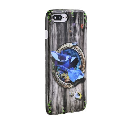 где купить Marine Animal Shark Patterned Full Coverage Soft Tpu Phone Case for iPhone 7 Plus 8 Plus дешево