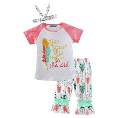 SOSOCOER Kids Girl Clothes Set 2017 New Feather Print Short Sleeved T-shirt + Pants + Hair Band Three Pieces