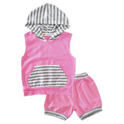 SOSOCOER  Kids Girls  Clothes Set 2017 Summer Sleeveless Striped Hoodie + Shorts Two Piece Set Small Children