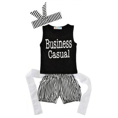 SOSOCOER   Kids Girls Clothes Set Lips T-shirt Stripe Shorts Hair Band Three Suits