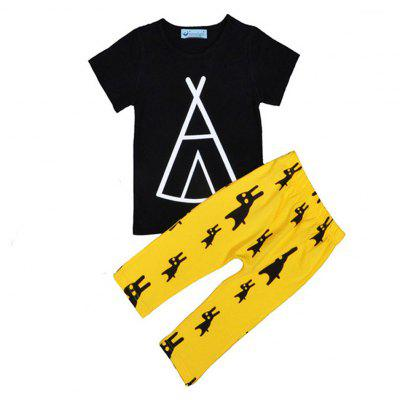 SOSOCOER  Kids Boys Clothes Geometric Pattern T-shirt Monster Yellow Pants Two Sets