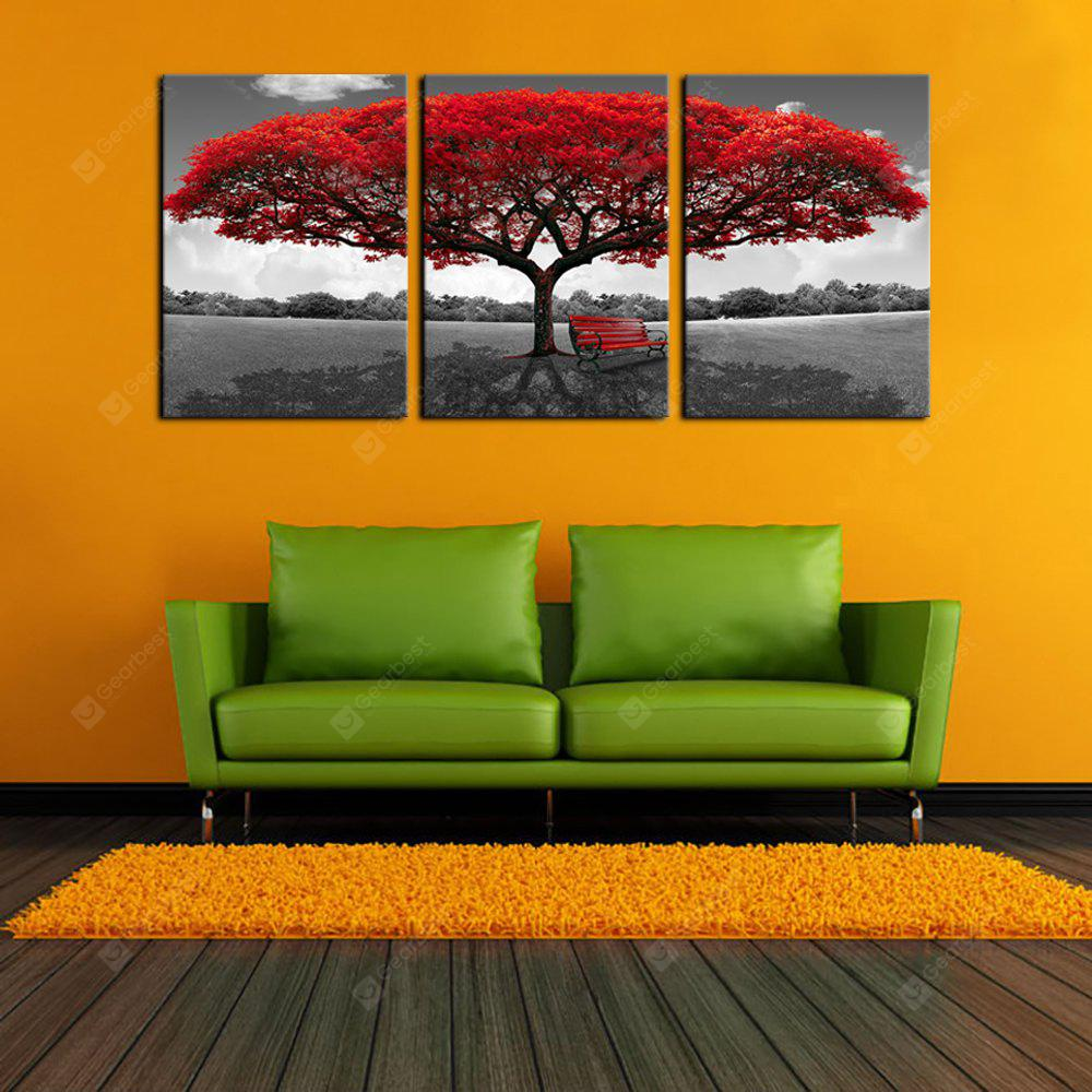 YHHP Canvas Print Red Umbrella Tree Tres paneles para la decoración del hogar
