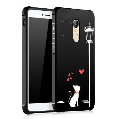 Love Cat Design Ultra Slim TPU Shockproof Black Silicone Soft Back Case for Xiaomi Redmi Note 4X  Standard Edition