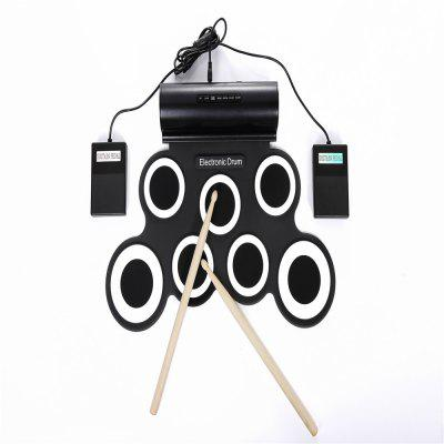 iWord Portable Hand Roll Up Silicone Electronic Drum Built-in Speaker Support DTX Game