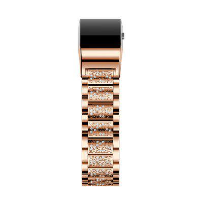 Stainless Steel Diamond Loop Metal Replacement Accessories Rhinestone Bracelet Strap with Unique Desighned Lock for Fitbit Charge 2