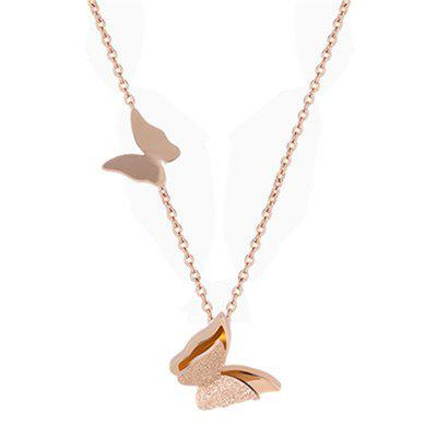 JAMOUR Titanium Plated Rose Gold Clavicle Chain Fashion Personality Wild Butterfly Pendant Necklace