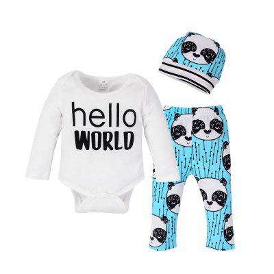 Newborn Baby Girls Boys Autumn Tops + panda Long Pants + Hat  Outfits 3Pcs