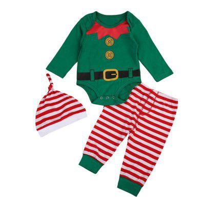 3Pcs Xmas Toddler Baby Boys Girls Top Romper Pants Leggings Outfits Clothes